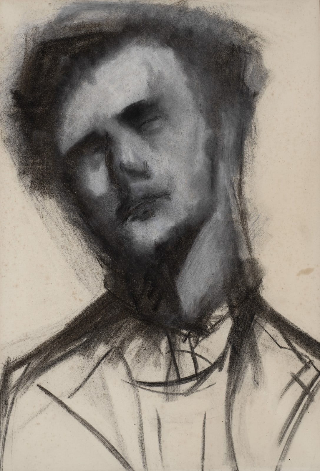 Gustav Metzger Head of a Man, c. 1952 Chalk on paper 86 x 64cm. The Gustav Metzger Foundation