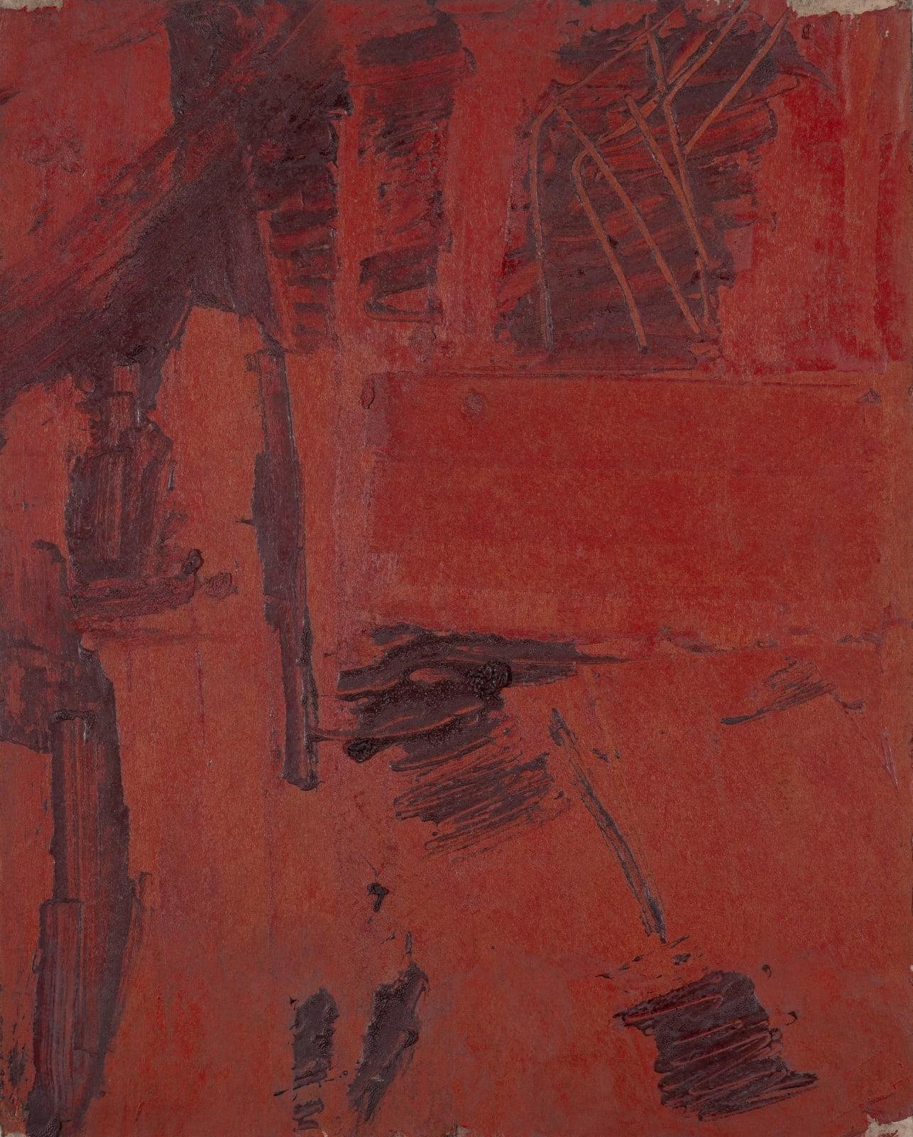 Gustav Metzger Painting, c. 1957-58 Oil on board, 35 x 28cm. The Gustav Metzger Foundation