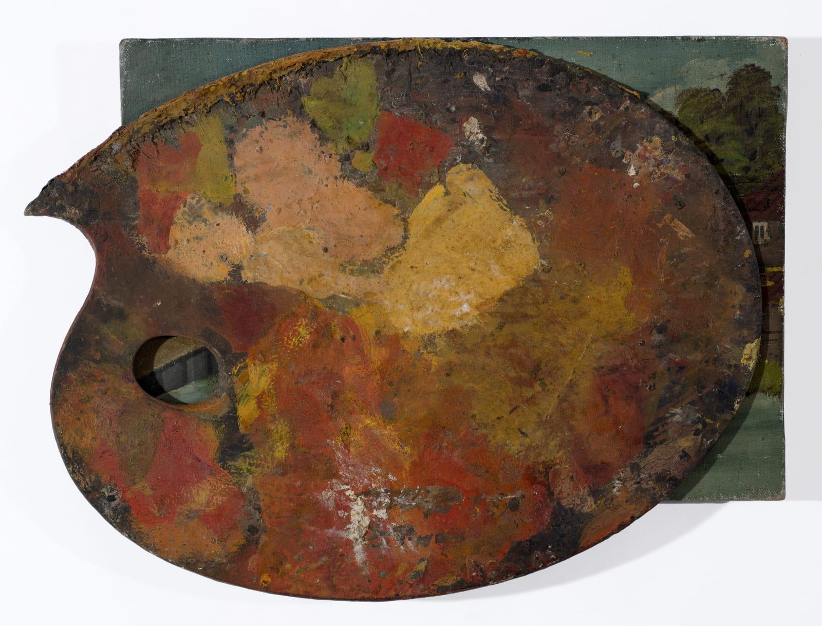 Gustav Metzger's palette, c. 1940s Oil on board 28 x 38cm. The Gustav Metzger Foundation