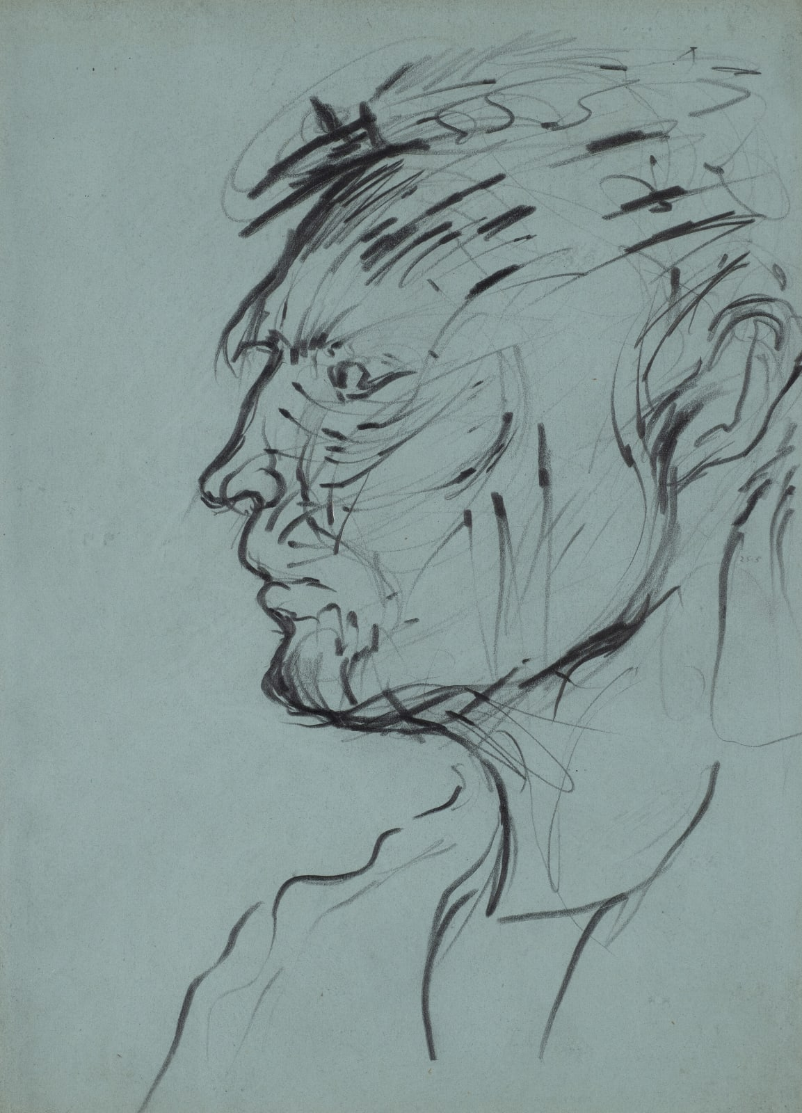 Gustav Metzger Head of a Man, 1948-49, Pencil on paper 39 x 30cm. The Gustav Metzger Foundation
