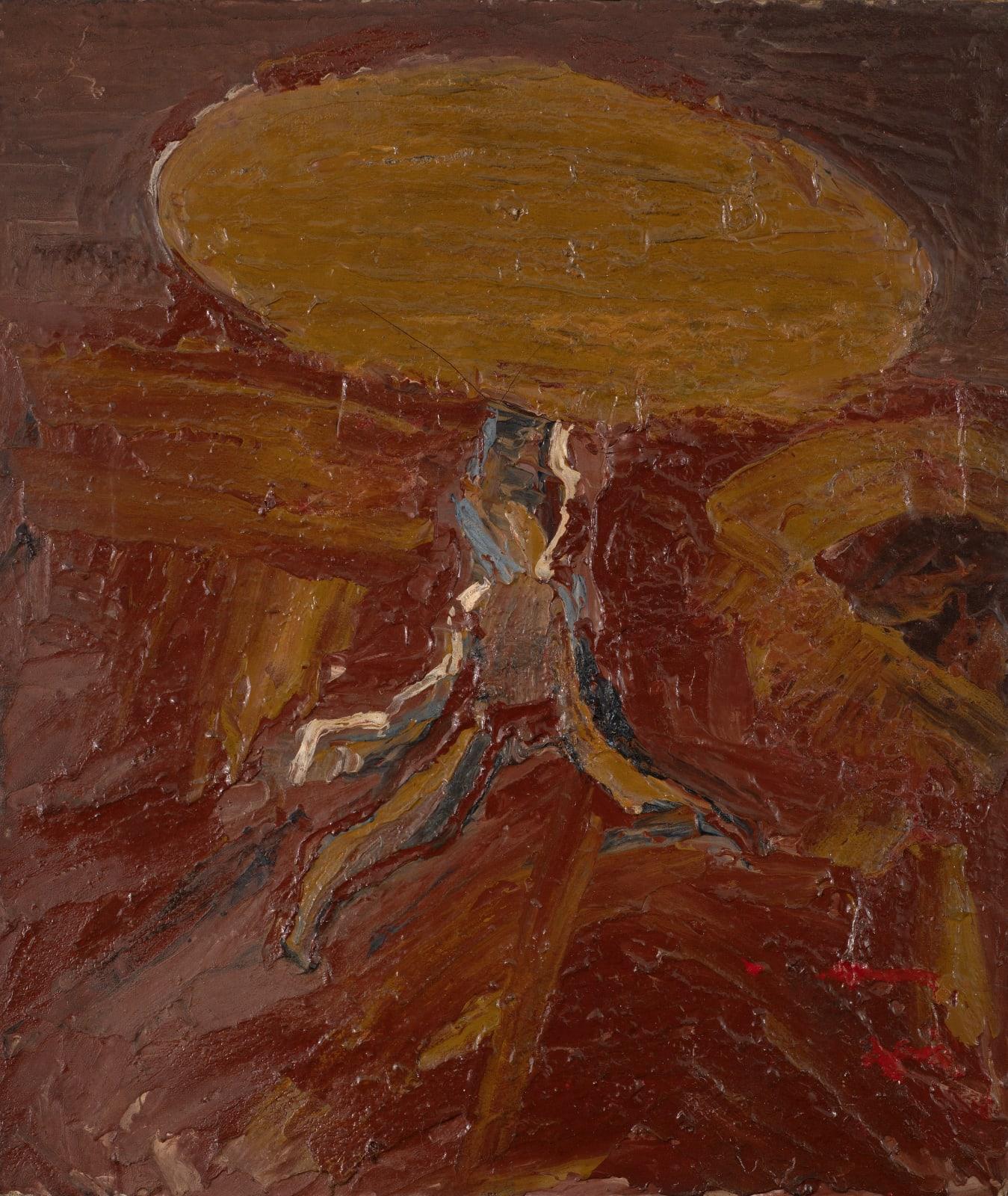 Gustav Metzger Table, 1956 Oil on canvas 35.5 x 30cm. The Gustav Metzger Foundation