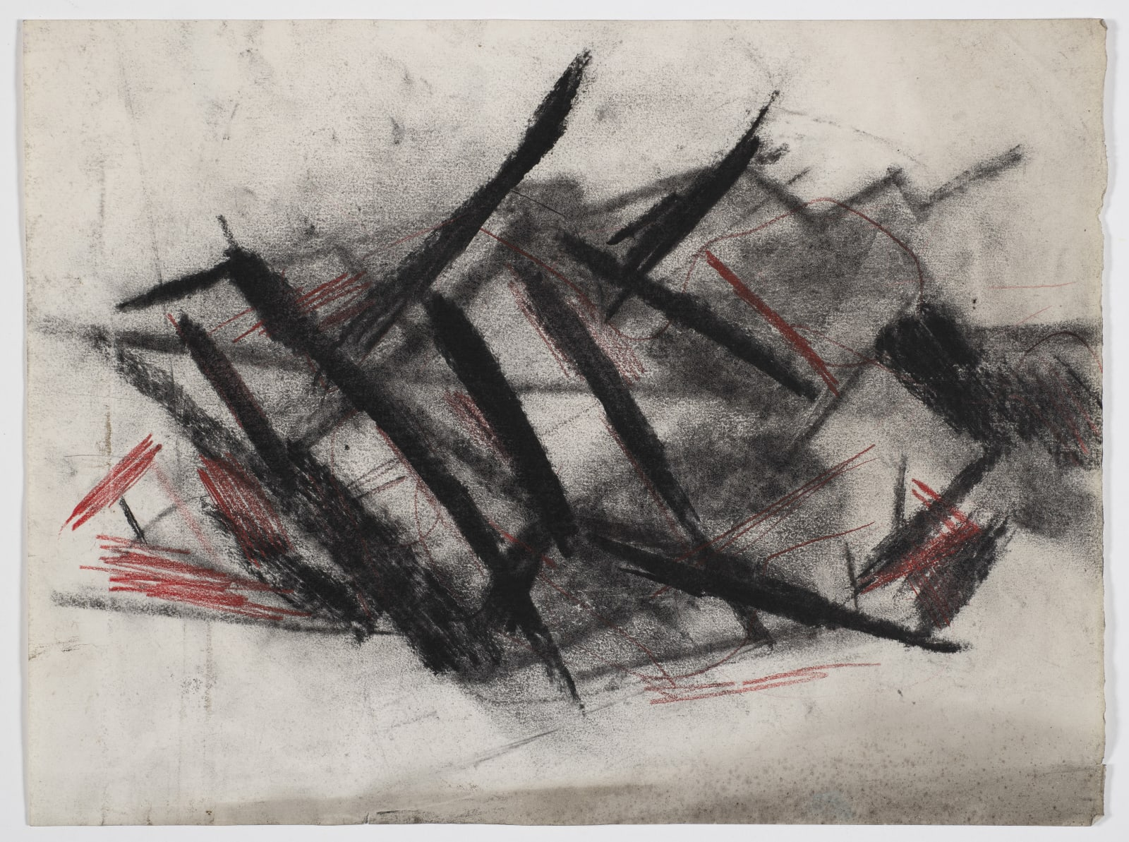 Composition, c.1950- 1953 Charcoal and coloured chalk on paper 28.5 x 38cm The Gustav Metzger Foundation