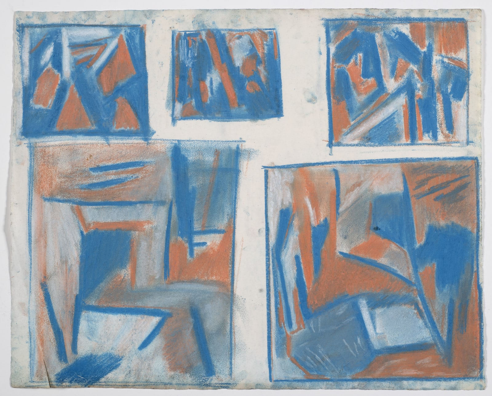 Study for paintings on mild steel, 1958-59 Coloured chalk on paper 43 x 53cm The Gustav Metzger Foundation