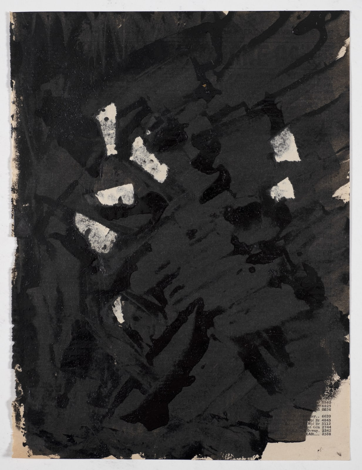 Untitled (London phone book series), c.1957-58 Oil on paper 17.5 x 20.7cm The Gustav Metzger Foundation