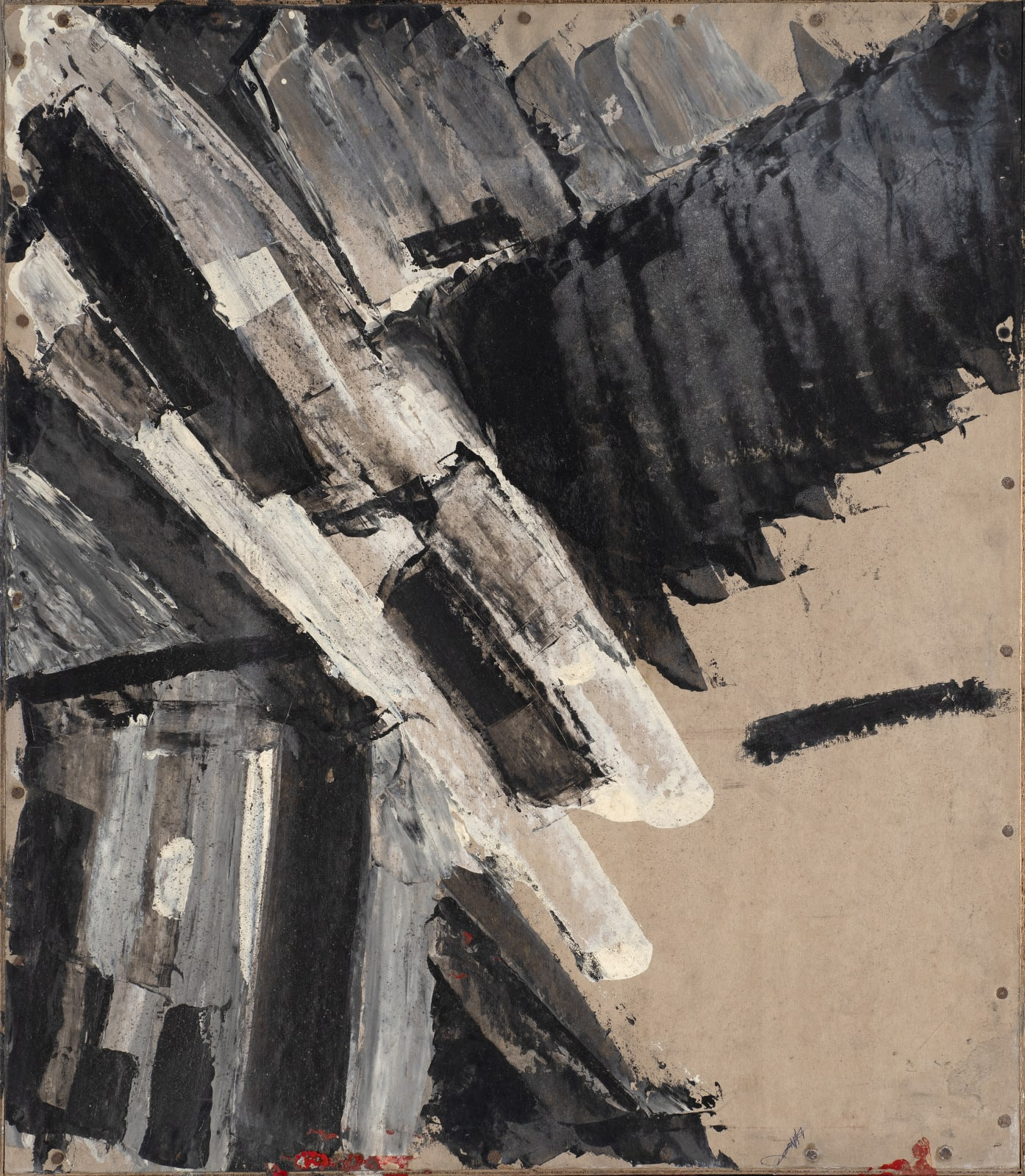 Painting on Cardboard, c. 1961-62 Oil on board 68 x 59cm (verso of Painting on Cardboard) The Gustav Metzger Foundation