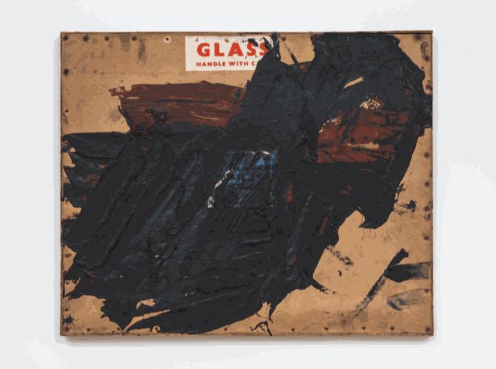 Untitled, c. 1957 Oil on found cardboard box lid, cardboard and wood 45.5 x 54.5 x 3cm The Gustav Metzger Foundation