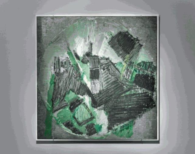 Painting on Galvanised Steel, 1958 Oil on steel 105.2 x 104.2cm The Gustav Metzger Foundation