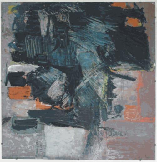 Painting on Galvanised Steel,1958 Oil on steel 105.2 x 104.2cm The Gustav Metzger Foundation