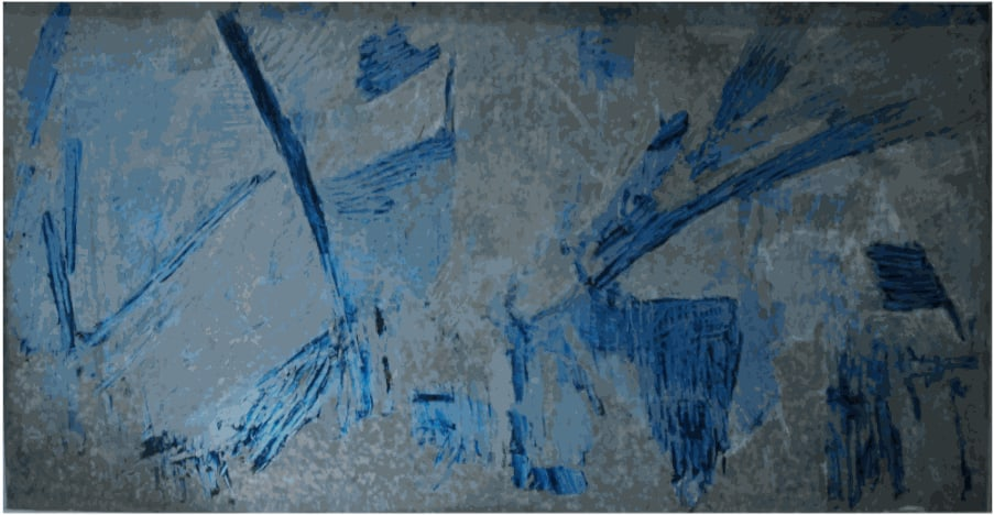 Painting on Galvanised Steel, 1958 Oil and chalk on steel 110 x 210cm Private Collection