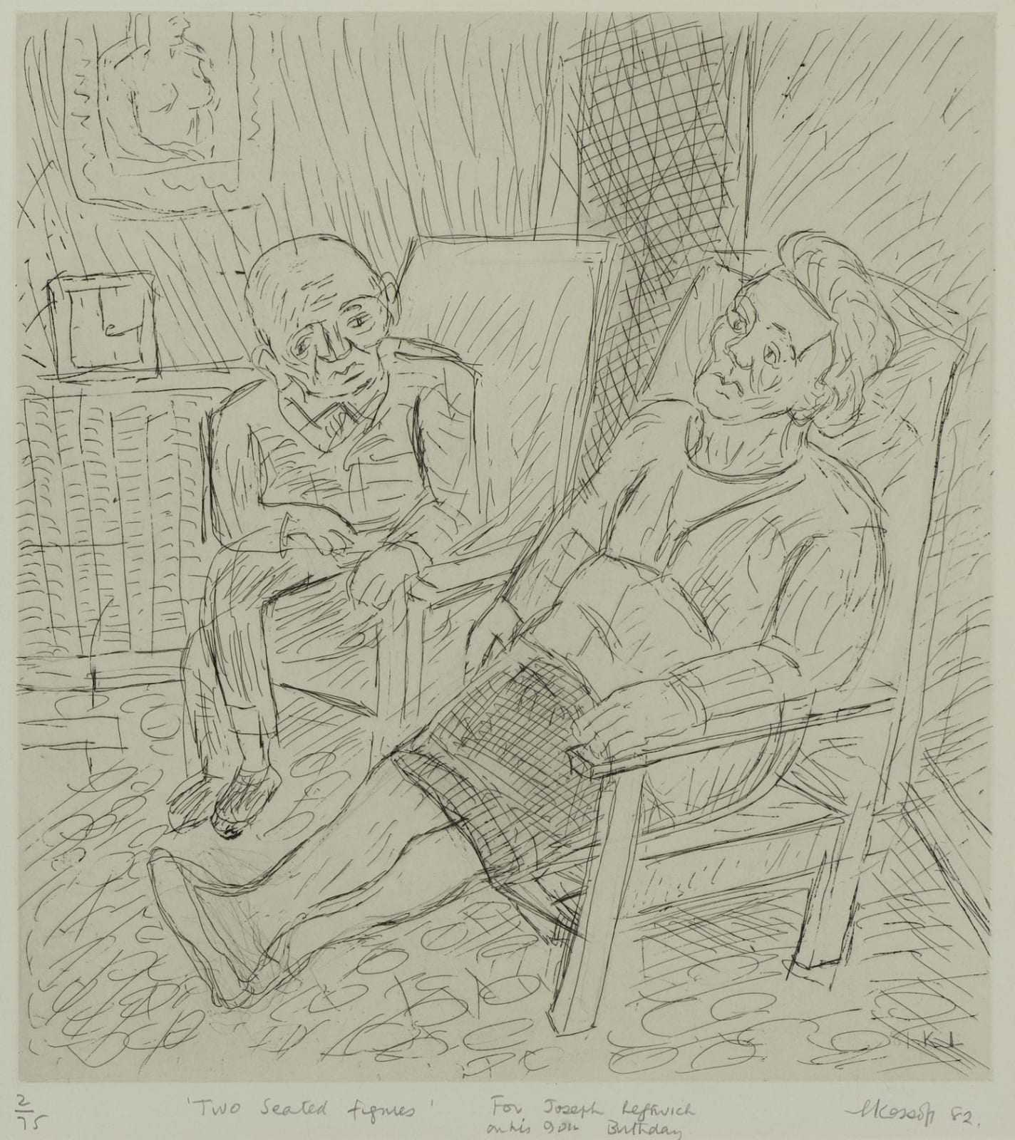 Leon Kossoff (1926-2019) Two Seated Figures 1982 Etching on paper 40 x 37 cm Ben Uri Collection © The Estate of Leon Kossoff To see and discover more about this artist click here