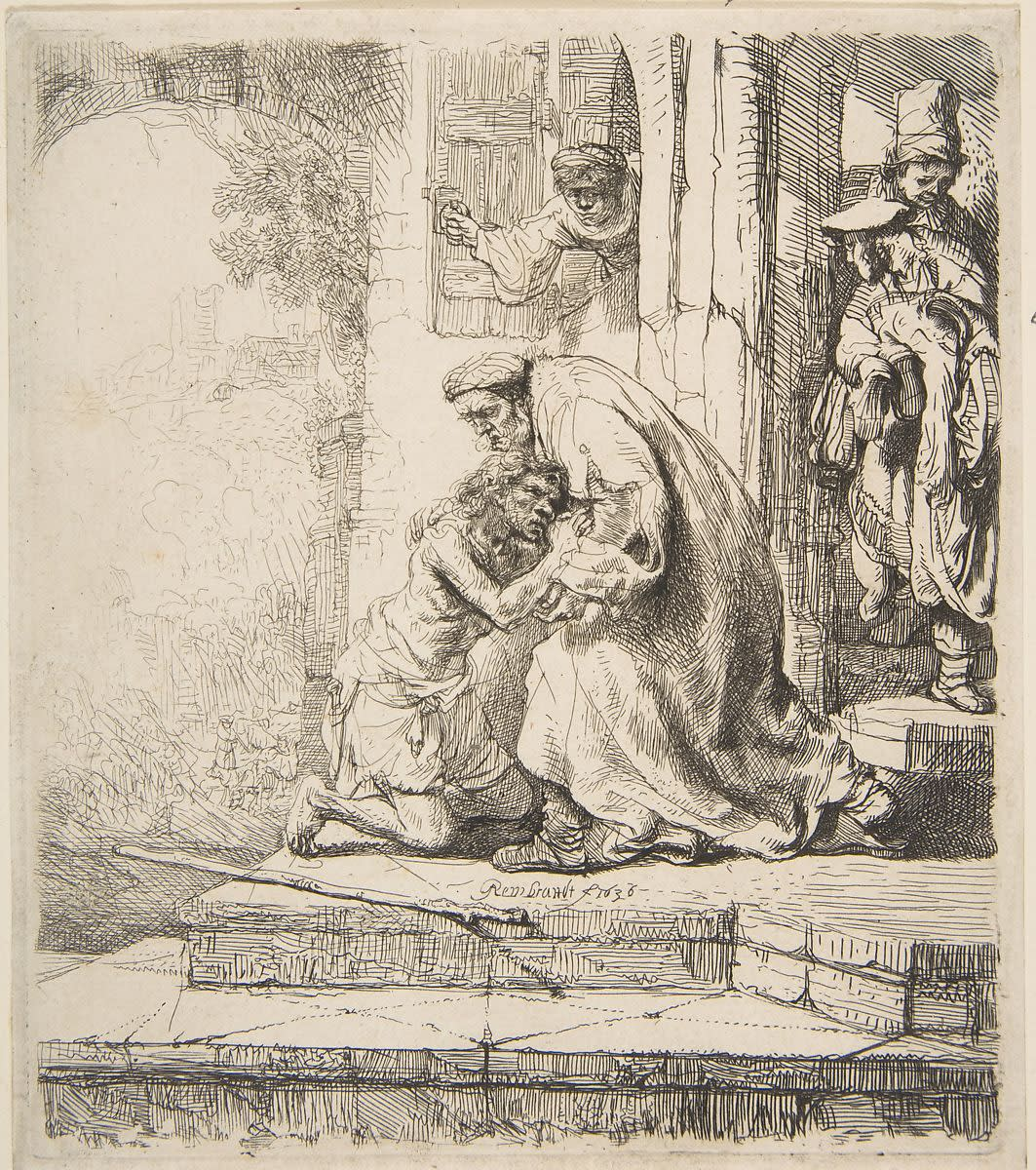 Rembrandt van Rijn (1606-1669) The Return of the Prodigal Son 1636 Etching on paper 22 x 24 cm Ben Uri Collection © Rembrandt To see and discover more about this artist click here
