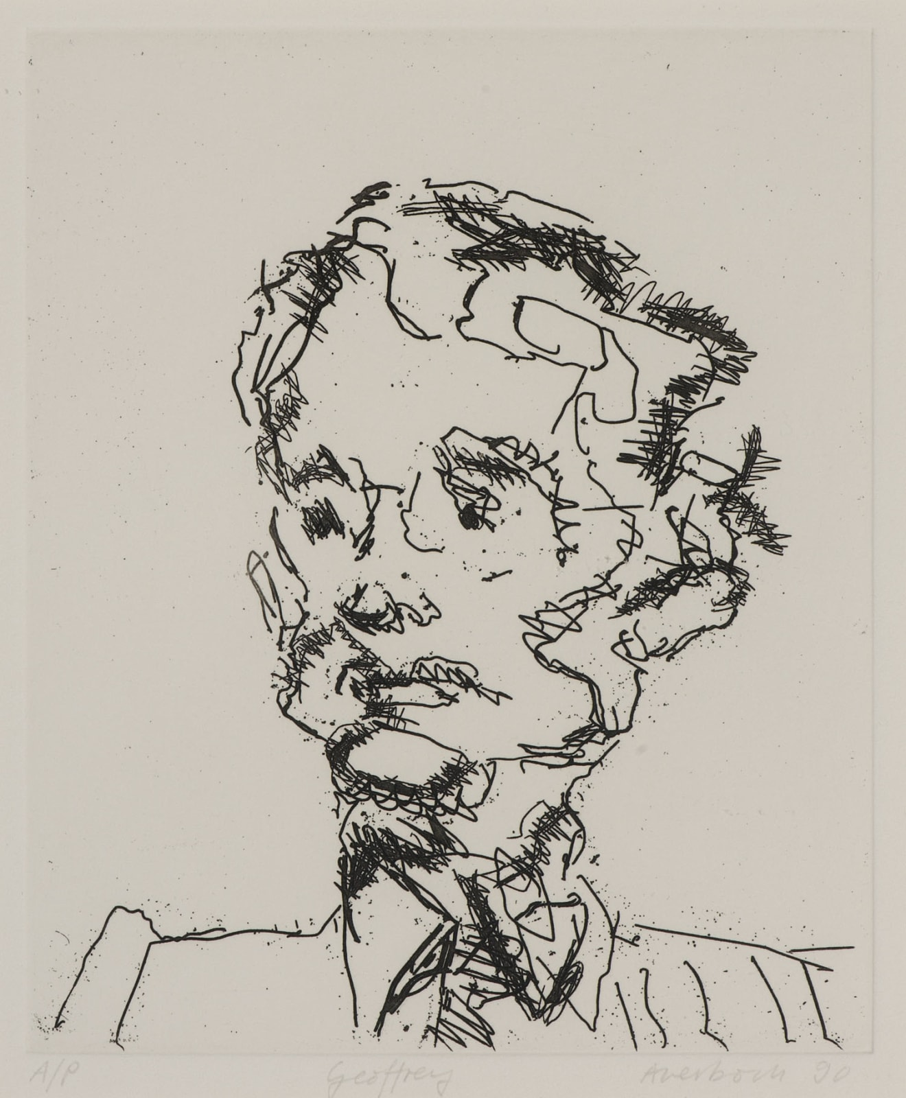 Frank Auerbach (1931-) Geoffrey 1989 Etching, printed on Somerset white paper Artist's proof outside the published edition of 50 19.5 x 16.5 cm Ben Uri Collection © Frank Auerbach, courtesy of Marlborough Fine Art To see and discover more about this artist click here
