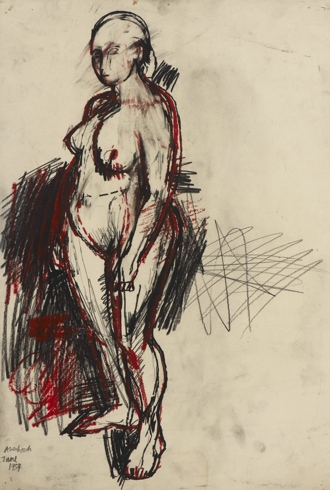 Frank Auerbach (1931-) Nude Standing 1954 Pencil, black and red crayon on paper 55 x 37.6 cm Ben Uri Collection © Frank Auerbach, courtesy of Marlborough Fine Art To see and discover more about this artist click here