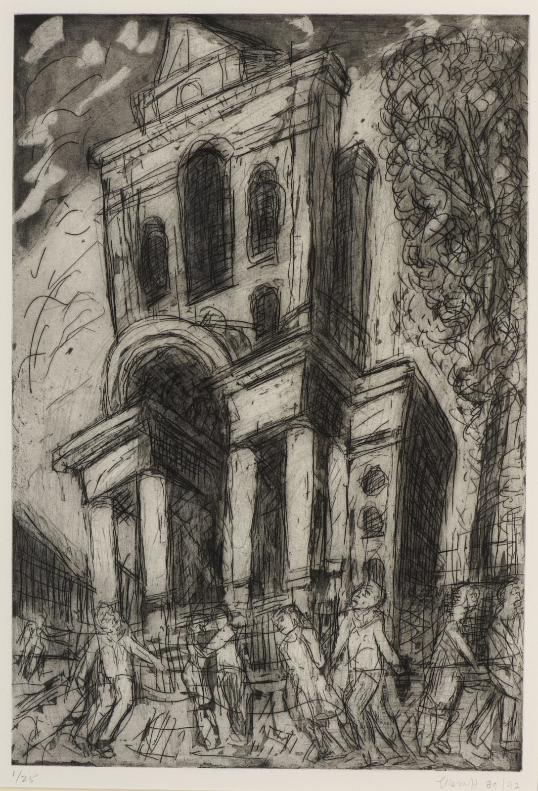 Leon Kossoff (1926-2019) Christ Church, Spitalfields, Spring 1992 Aquatint and etching on paper 59.5 x 40.5 cm Ben Uri Collection © The Estate of Leon Kossoff To see and discover more about this artist click here
