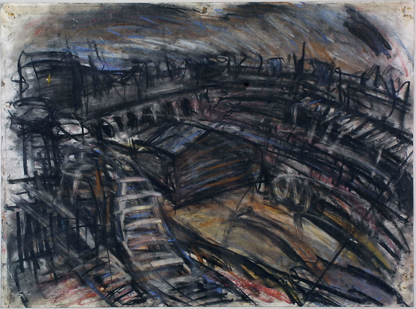 Leon Kossoff (1926-2019) Railway Landscape Near King's Cross 1967 Gouache on paper The Philip Schlee Collection, Southampton City Art Gallery © The Estate of Leon Kossoff To see and discover more about this artist click here