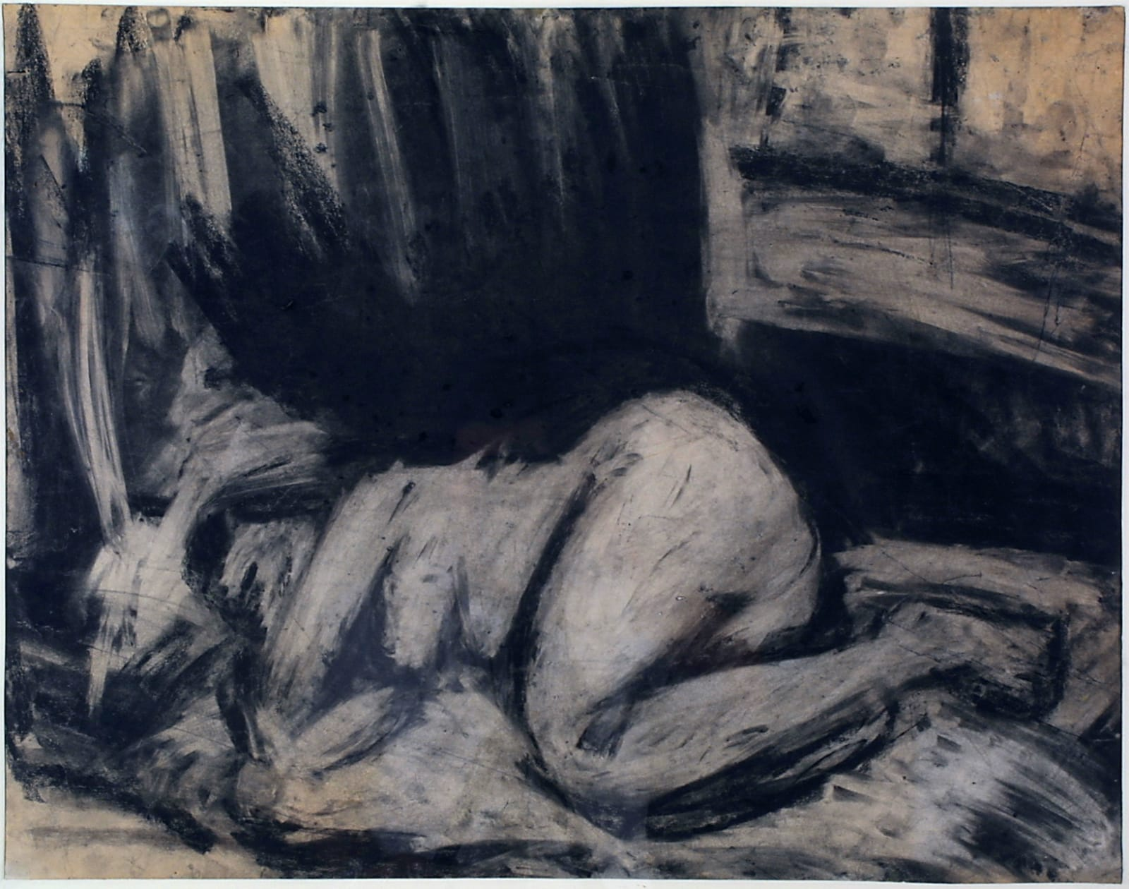 Leon Kossoff (1926-2019) Nude on a Bed n.d. Oil on board The Philip Schlee Collection, Southampton City Art Gallery © The Estate of Leon Kossoff To see and discover more about this artist click here