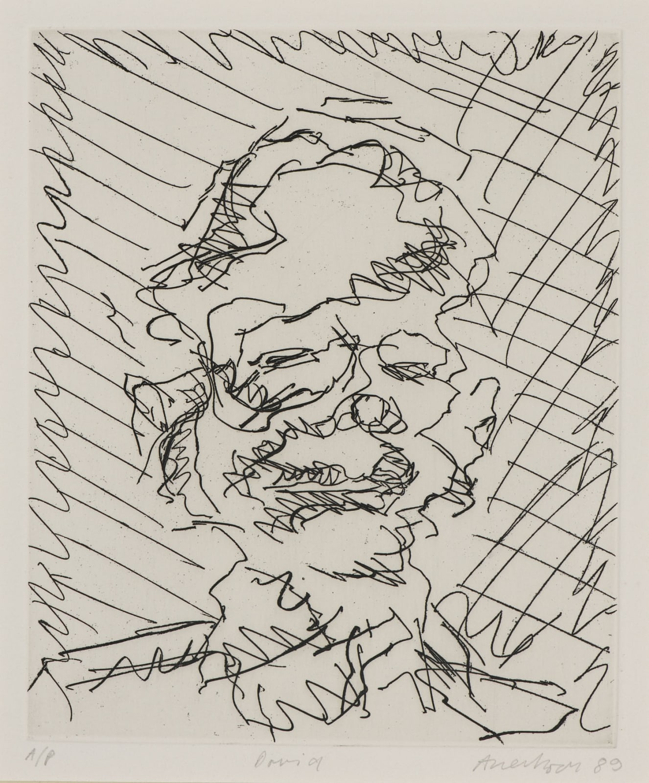 Frank Auerbach (1931-) David 1989 Etching, printed on Somerset white paper Artist's proof outside the published edition of 50 19.3 x 16.3 cm Ben Uri Collection © Frank Auerbach, courtesy of Malborough Fine Art To see and discover more about this artist click here