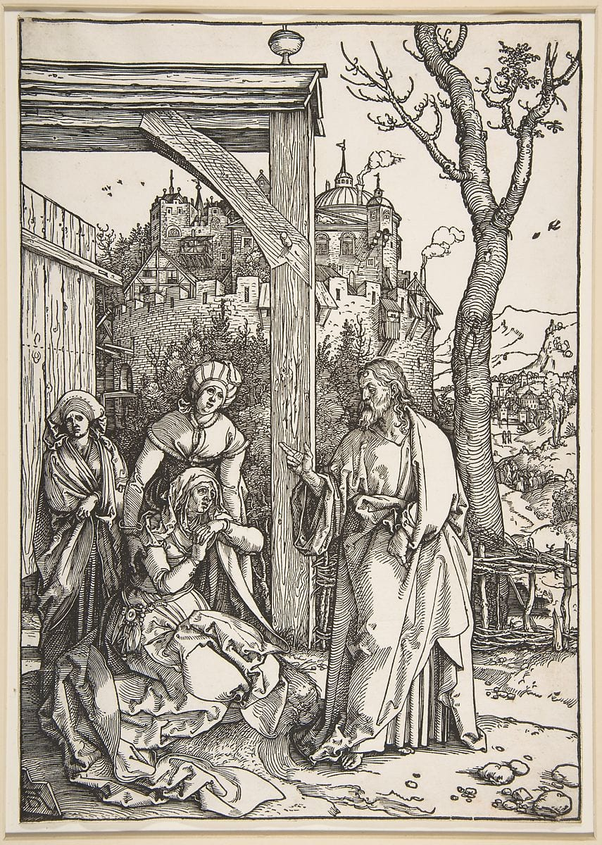 Albrecht Dürer (1471-1528) Christ Taking Leave of His Mother c.1507 Etching on paper From the series of seventeen cuts of the Life of the Virgin book, edition 1511, with Latin text verso 29.4 x 20.8 cm Ben Uri Collection To see and discover more about this artist click here