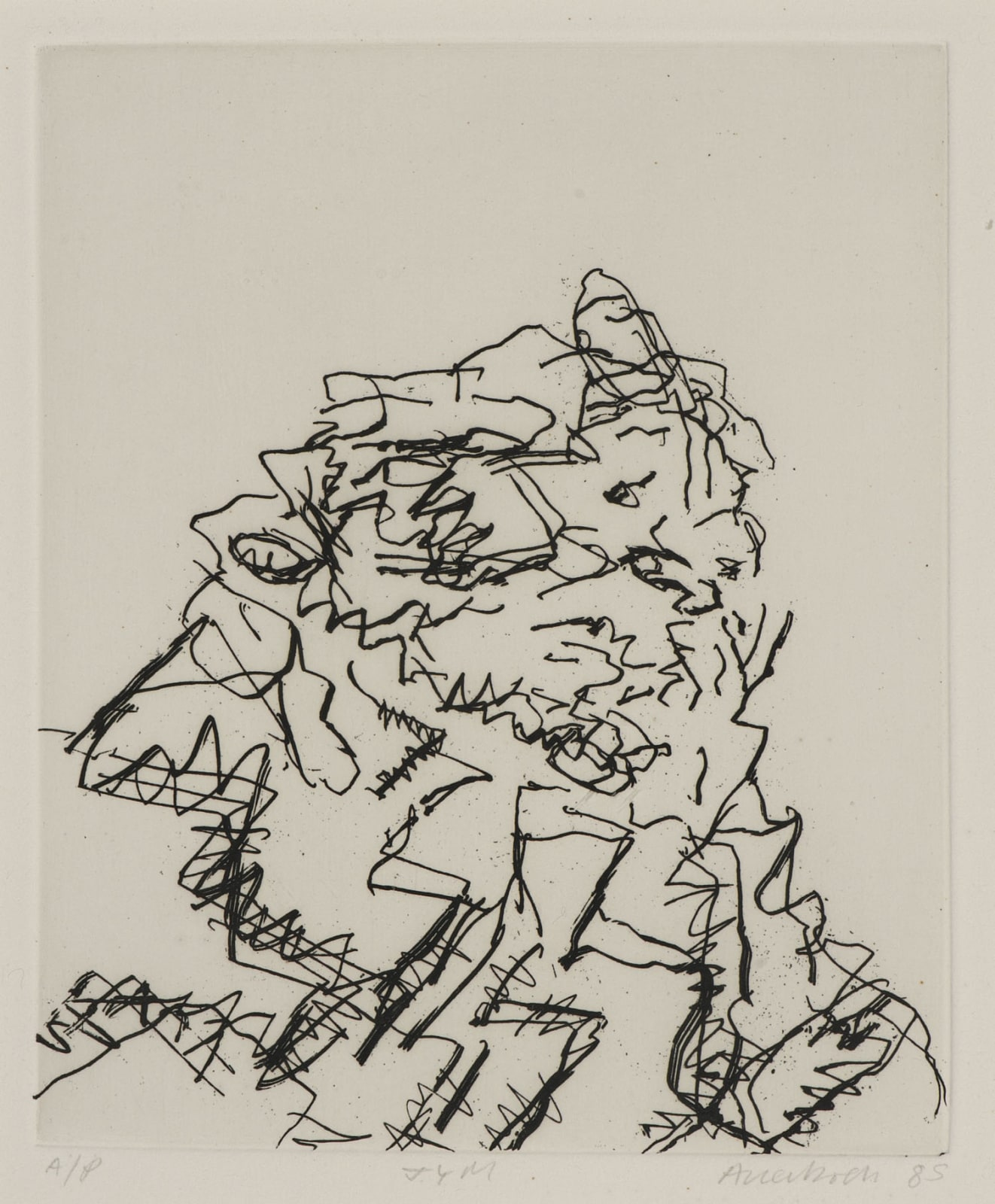 Frank Auerbach (1931-) J.Y.M. 1989 Etching, printed on Somerset white paper Artist's proof outside the published edition of 50 20 x 16.5 cm Ben Uri Collection © Frank Auerbach, courtesy of Marlborough Fine Art To see and discover more about this artist click here
