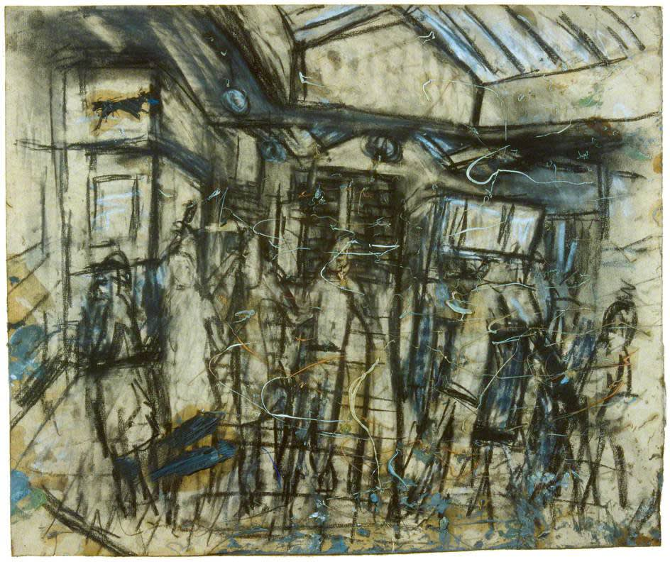Leon Kossoff (1926-2019) Booking Hall No. 6 (interior of Kilburn Underground Station) 1975 Charcoal and oil and wash on paper Swindon Museum & Art Gallery © The Estate of Leon Kossoff To see and discover more about this artist click here