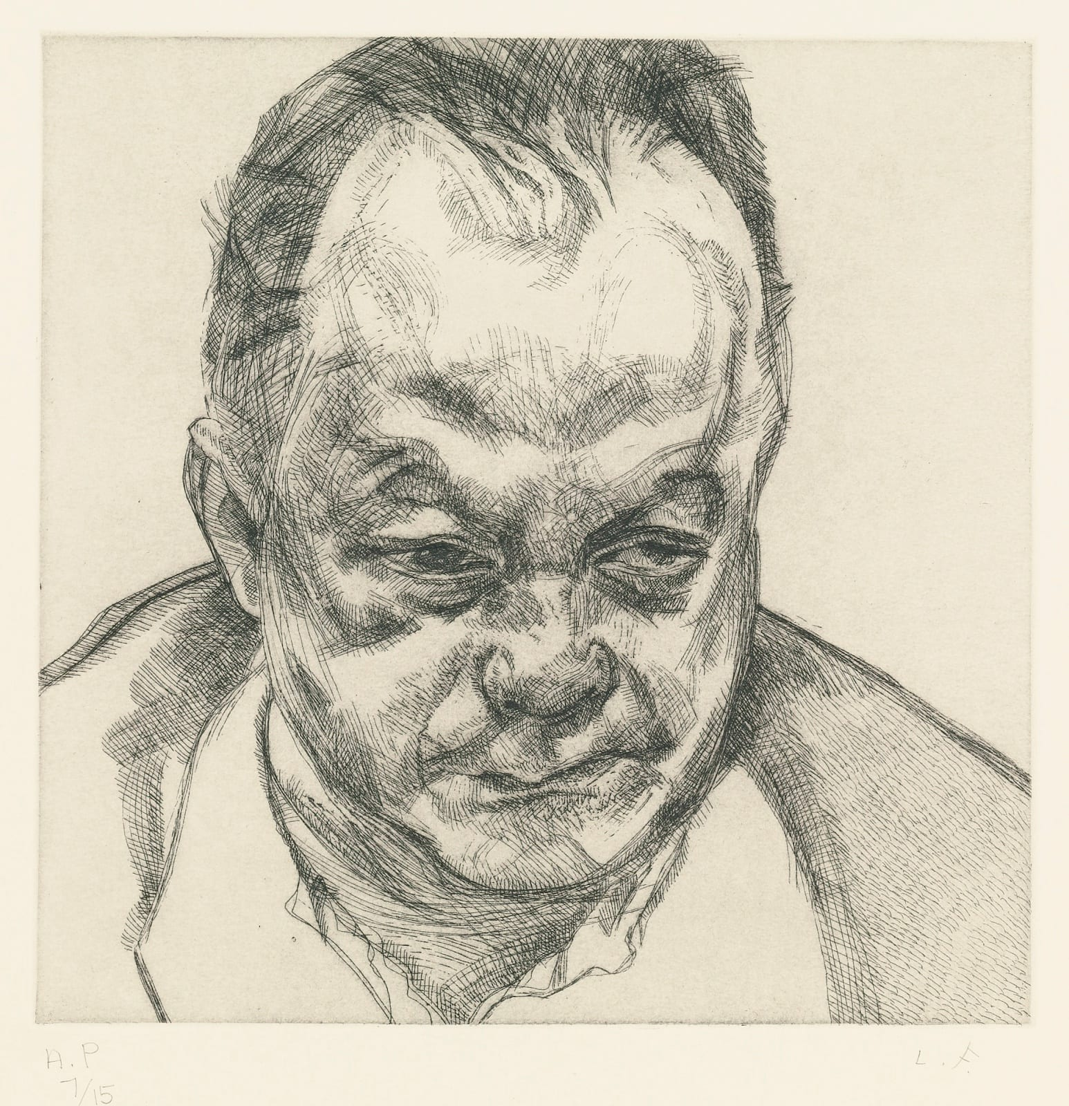 Lucian Freud (1922-2011) Bruce Bernard 1985 Etching on Arches paper Private Collection © Lucian Freud estate To see and discover more about this artist click here