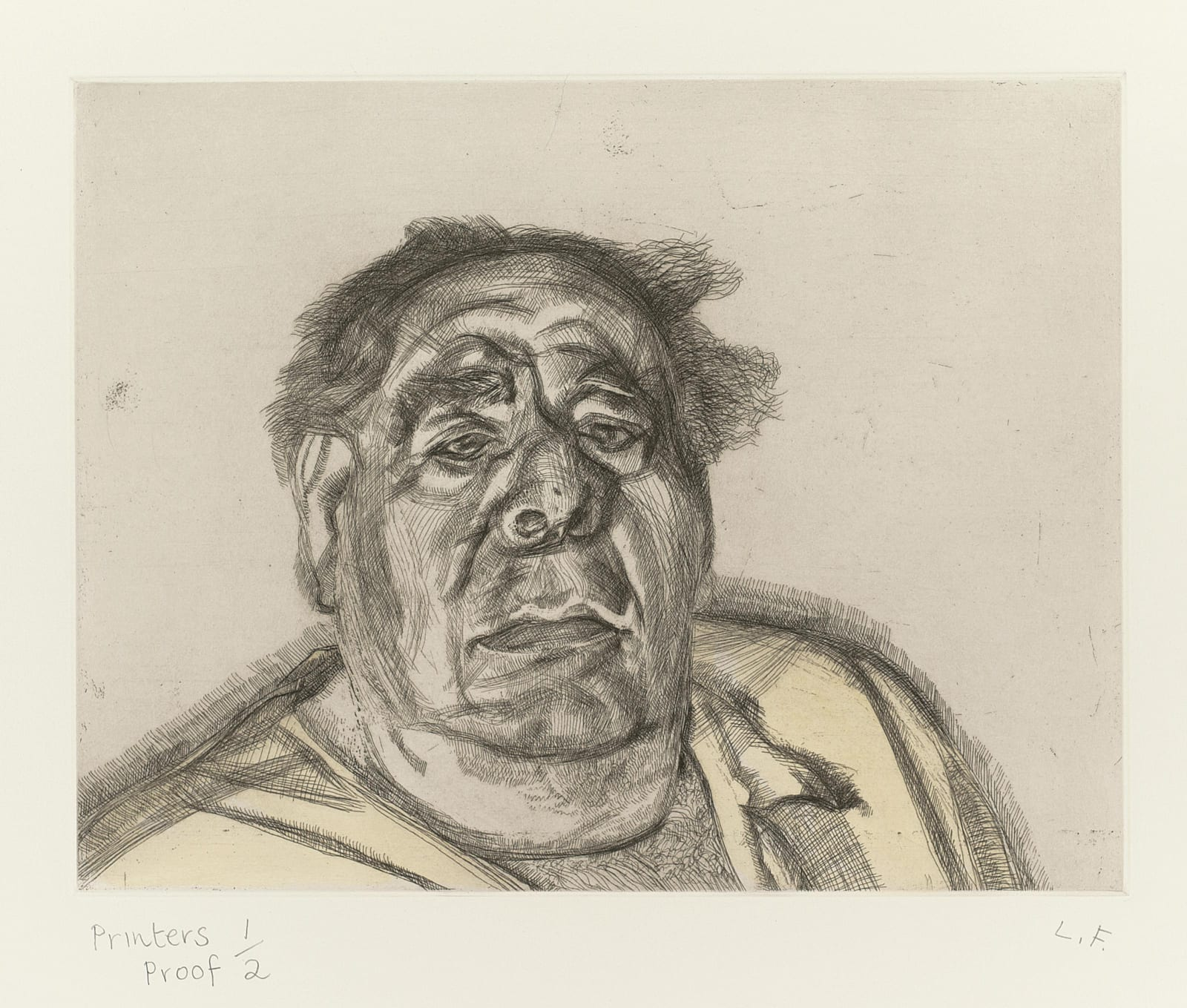 Lucian Freud (1922-2011) Lord Goodman in his yellow pyjamas 1987 Etching on rives BFK paper Private Collection © Lucian Freud estate To see and discover more about this artist click here
