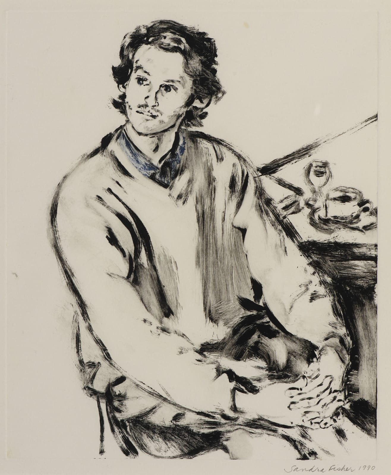 Sandra Fisher (1947-1994) Portrait of Meier Appelfeld 1990 Etching on paper 33 x 27 cm Ben Uri Collection © Sandra Fisher estate To see and discover more about this artist click here