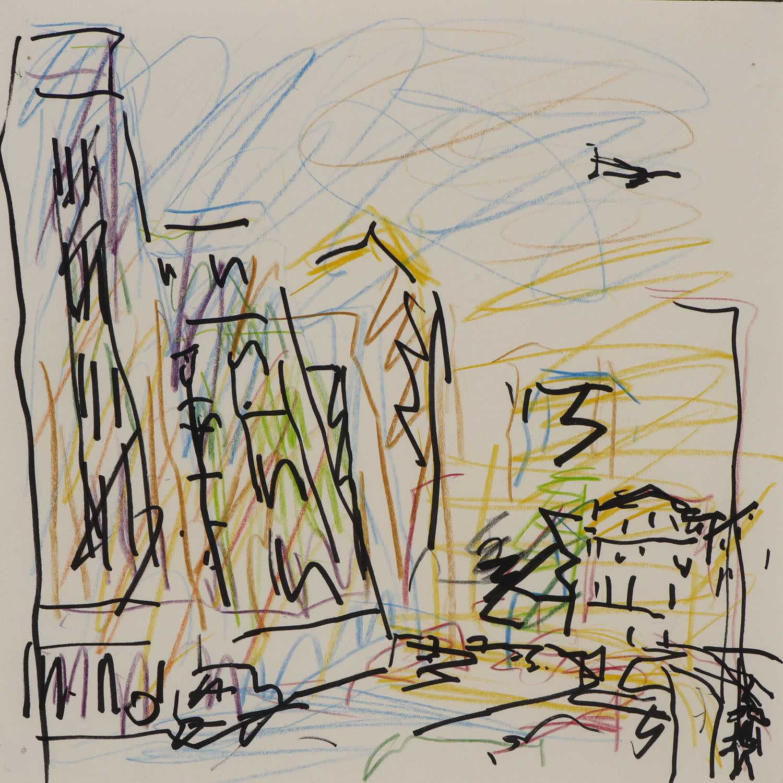 Frank Auerbach (1931-) Study for Mornington Crescent, Summer Morning II 2004 Crayon on paper 21 x 21 cm Ben Uri Collection © Frank Auerbach, courtesy of Marlborough Fine Art