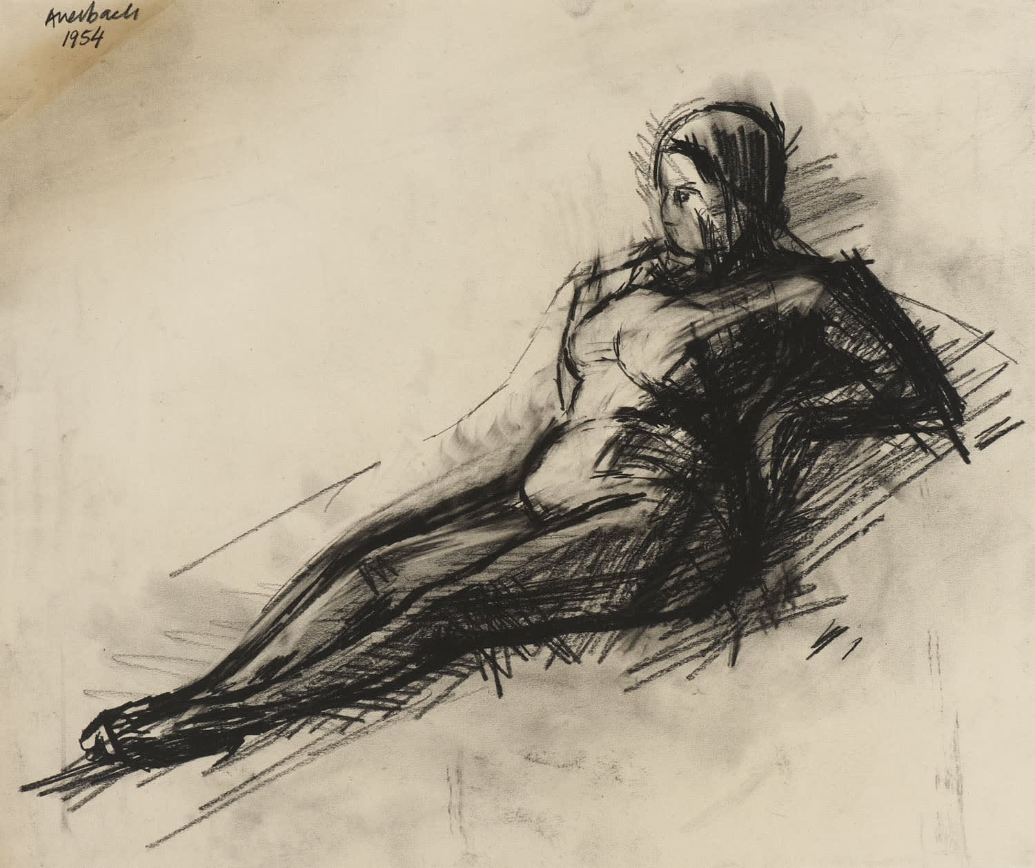 Frank Auerbach (1931-) Nude 1954 Charcoal on paper 45.5 x 54.5 cm Ben Uri Collection © Frank Auerbach, courtesy of Marlborough Fine Art To see and discover more about this artist click here