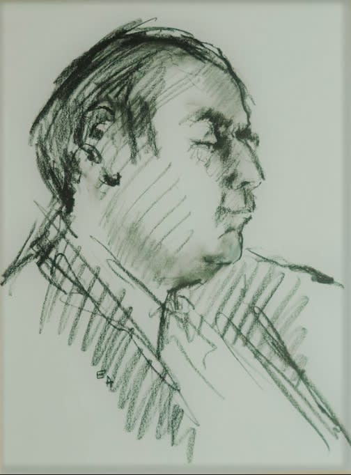 Eva Albrook (1925-2020) Portrait of Sigmund Nissel n.d. Pencil on paper 63.2 x 52.6 cm Ben Uri Collection © The Estate of Eva Aldbrook