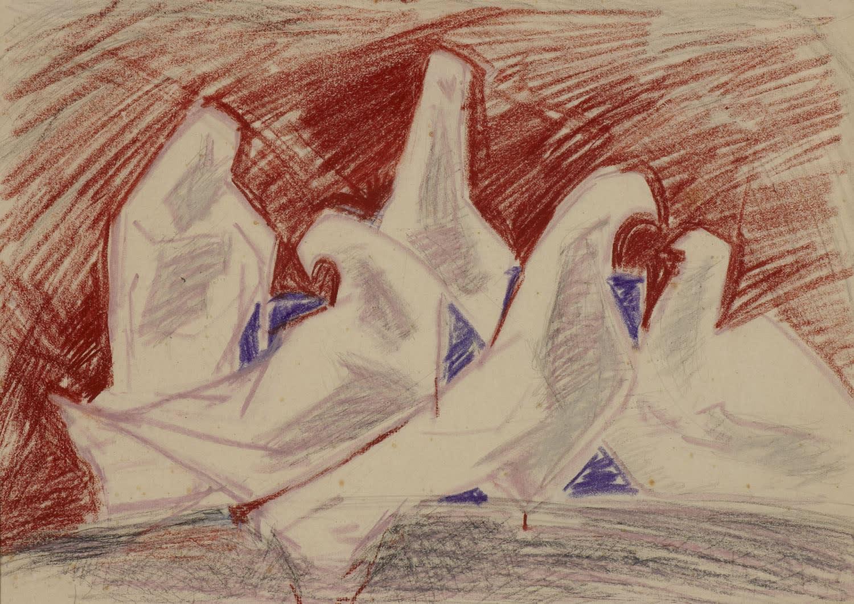 Pamina Liebert-Mahrenholz (1904-2004) Doves n.d. Pencil and pastel on paper 28 x 39.5 cm Ben Uri Collection © Pamina Liebert-Mahrenholz estate