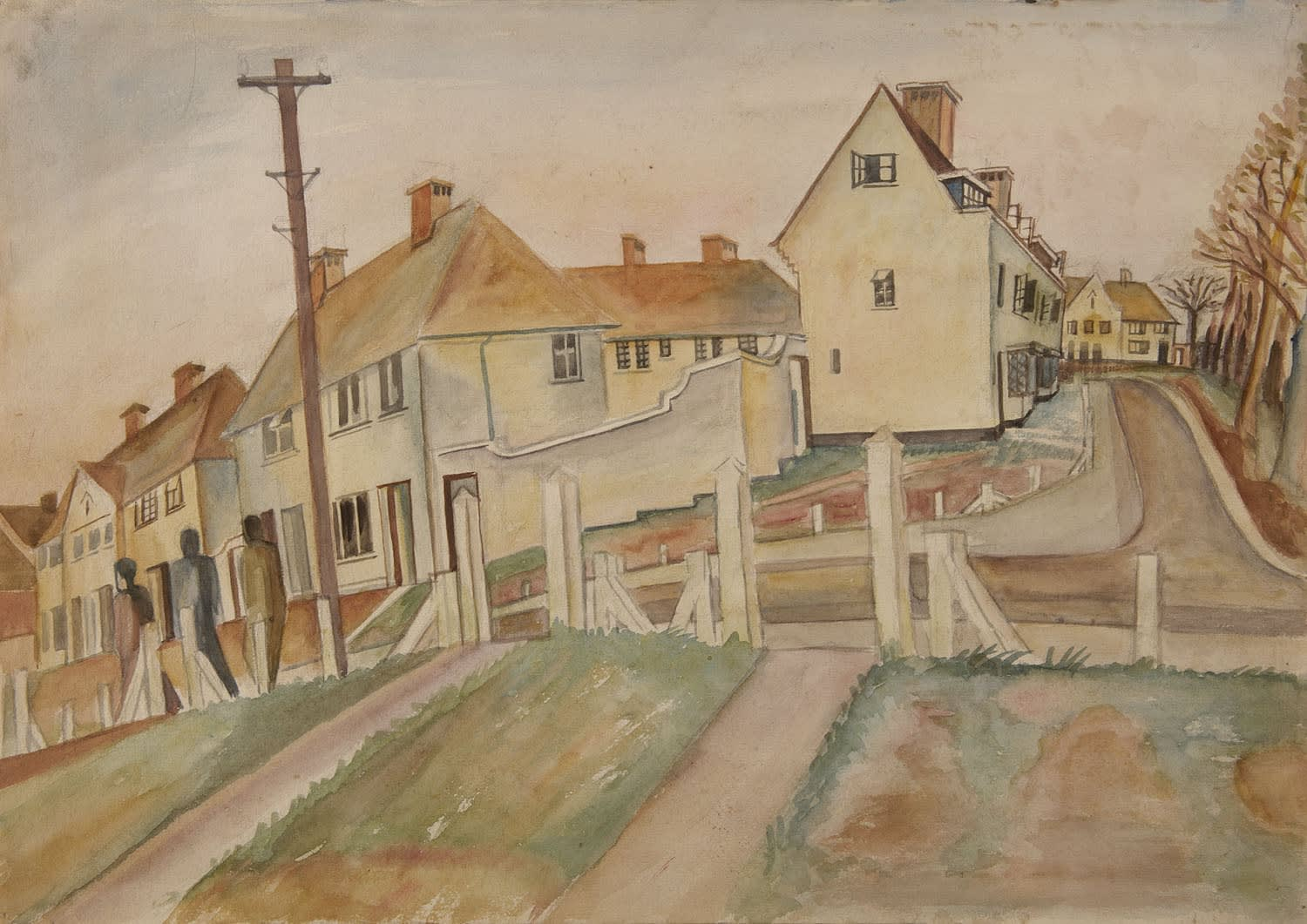 Alfred Lomnitz (1892-1953) Suburban Scene (Huyton Camp) c.1940-41 Watercolour and pencil on paper 35.5 x 50.5 cm Ben Uri Collection © Alfred Lomnitz estate