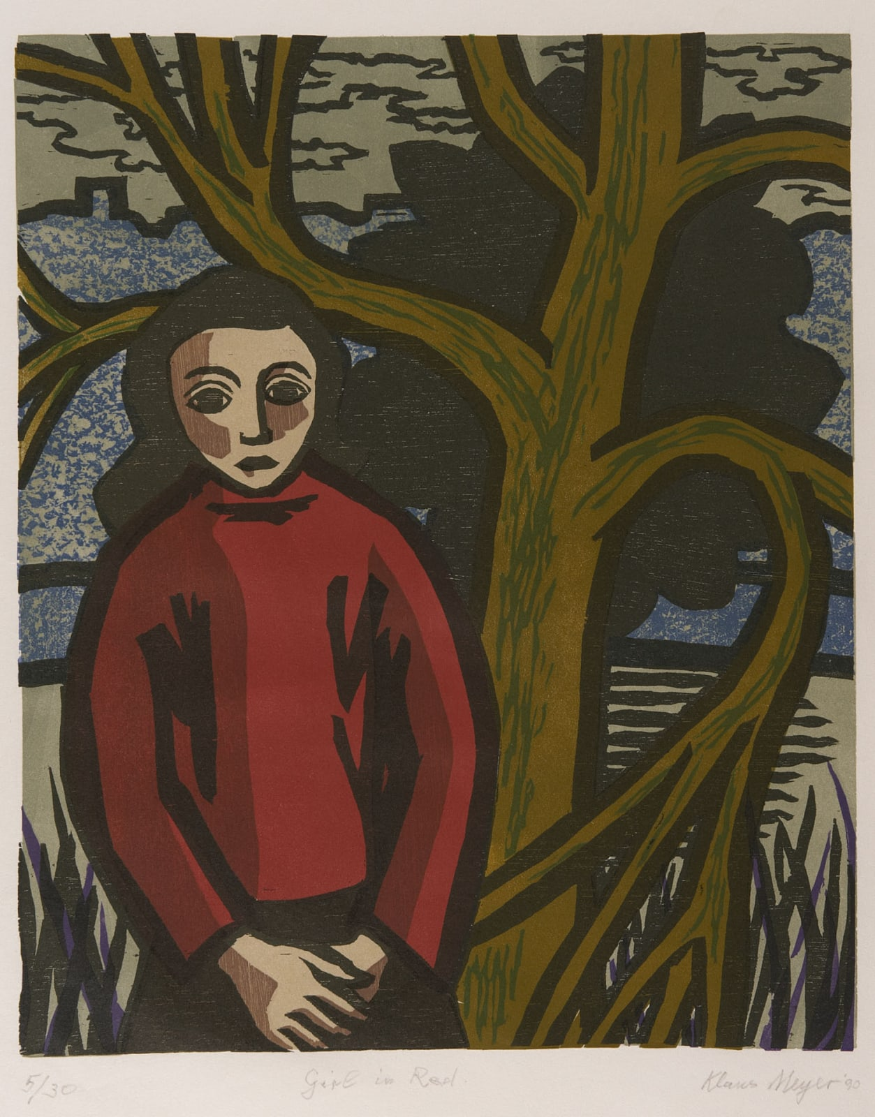 Klaus Meyer (1918-2002) Girl in Red 1990 Woodcut on paper 45 x 36.5 cm Ben Uri Collection © Klaus Meyer estate