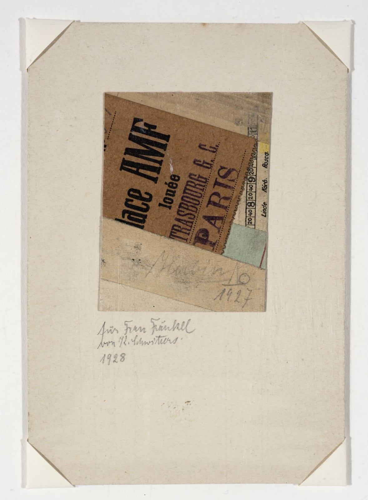 Kurt Schwitters (1887-1948) Untitled 1927 Collage 13.5 x 9.3 cm Ben Uri Collection