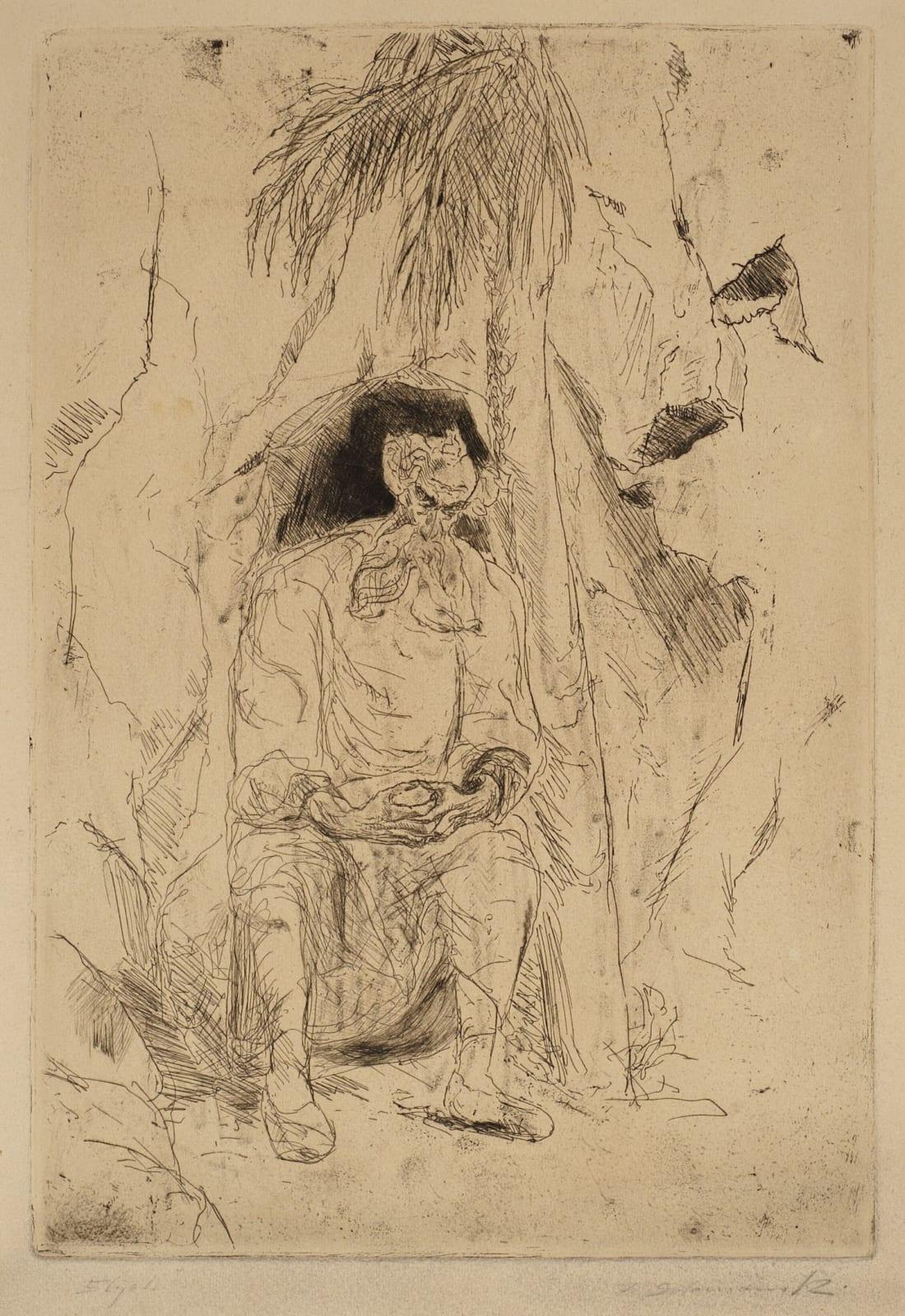 Frederick Solomonski (1899-1980) Elijah 1940 Etching on paper 38.5 x 26.5 cm Ben Uri Collection © Frederick Solomonski