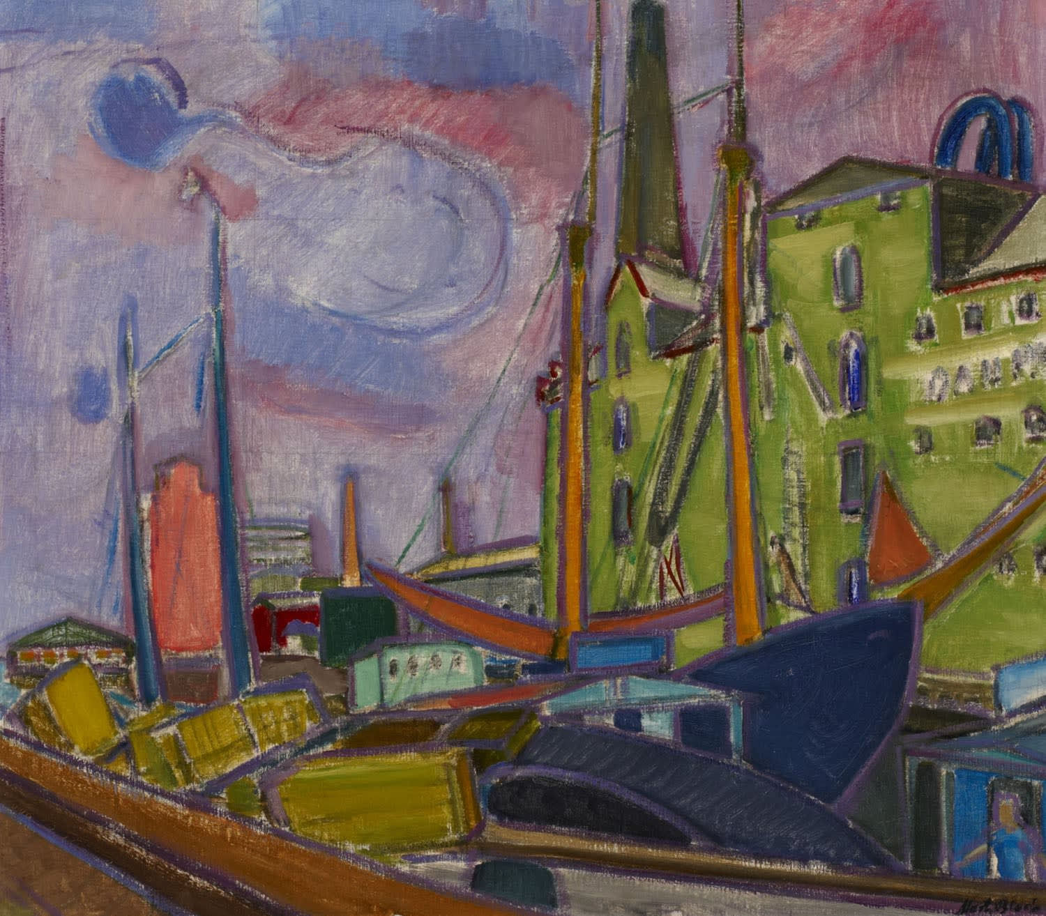 Martin Bloch (1883-1954) Svendborg Harbour, Denmark 1934 Oil on canvas on board 69 x 79 cm Ben Uri Collection © Martin Bloch Trust