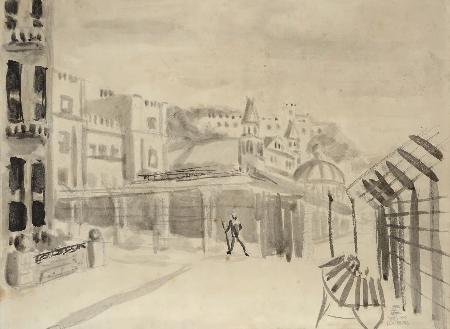 Ernst Eisenmayer (1920-2018) Internment in Douglas 1940 Watercolour, graphite and pen and ink on paper and board 30.3 x 22.8 cm Ben Uri Collection © Ernst Eisenmayer