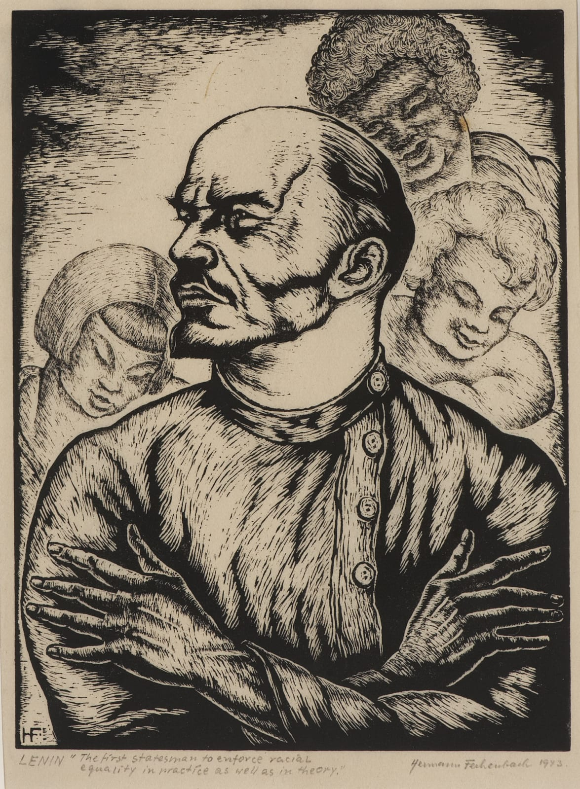 Hermann Fechenbach (1897-1986) Lenin 1943 Woodcut on paper 21.6 x 16 cm Ben Uri Collection © Hermann Fechenbach estate