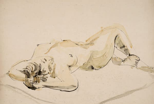 Paul Hamann (1891-1973) Reclining Female Nude, Lying on Divan on Back, Arms Behind Head (Series: Twenty-two Life Drawings) c.1960s Pen and ink and watercolour on paper Ben Uri Collection © Paul Hamann estate