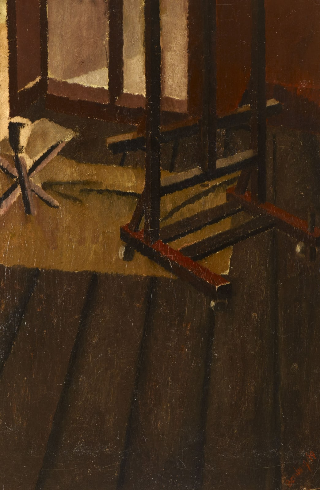 David Bomberg (1890-1957) The Studio 1919 Oil on board 74.3 x 49 cm Ben Uri Collection © David Bomberg estate