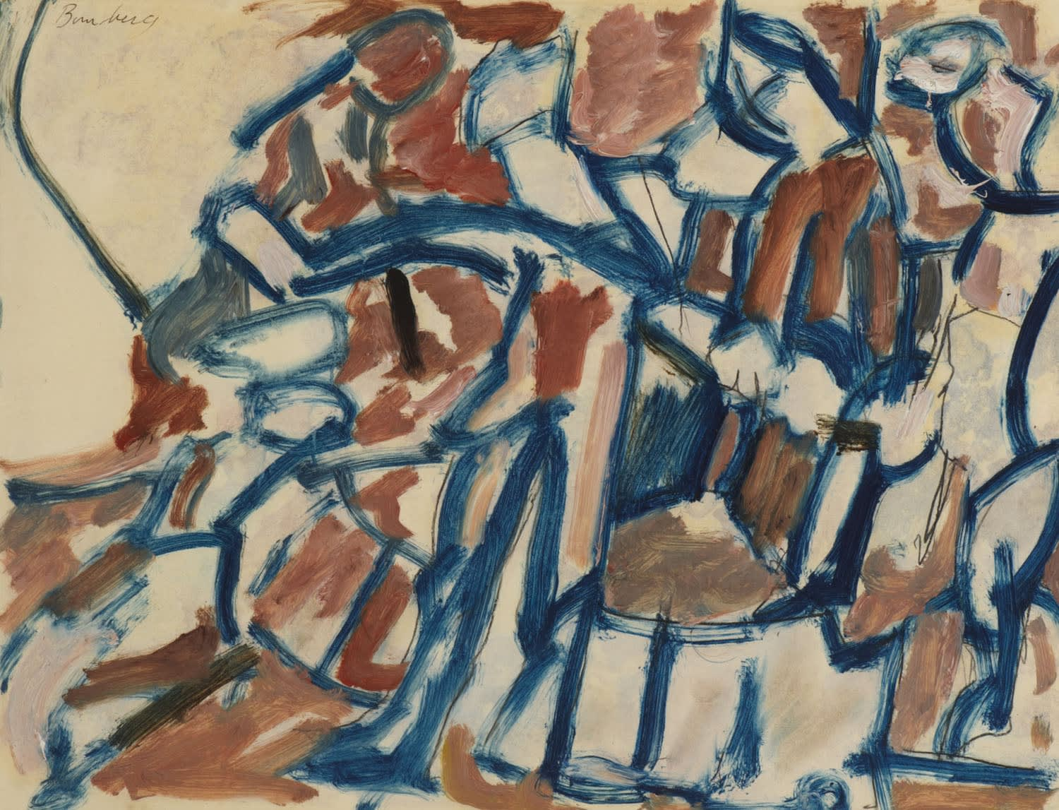 David Bomberg (1890-1957) Ghetto Theatre Study c.1920 Oil an pencil on paper on board 31 x 41.5 cm Ben Uri Collection © David Bomberg estate