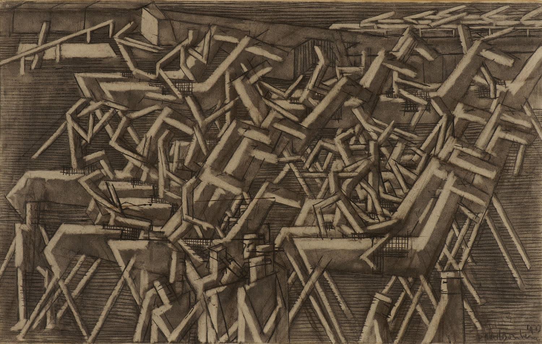 David Bomberg (1890-1957) Racehorses 1913 Black chalk and wash on paper 41.5 x 66.2 cm Ben Uri Collection © David Bomberg estate