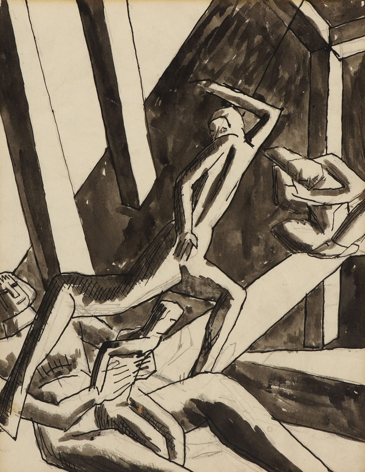 David Bomberg (1890-1957) The Family (Study for Ghetto Theatre II) 1919 Pencil, ink and wash on paper 25.4 x 19.7 cm Ben Uri Collection © David Bomberg estate