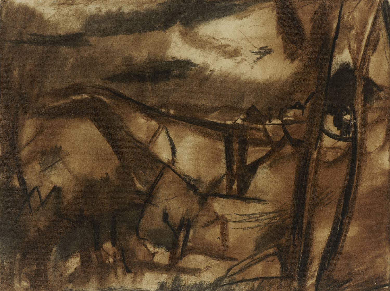 David Bomberg (1890-1957) Ronda, Spain 1954-56 Charcoal on paper 45.5 x 61 cm Ben Uri Collection © David Bomberg estate