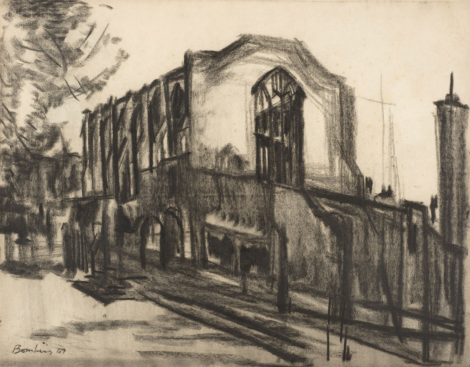 David Bomberg (1891-1957) Benchers Hall, Inner Temple 1947 Charcoal on paper 47 x 60 cm Ben Uri Collection © David Bomberg estate