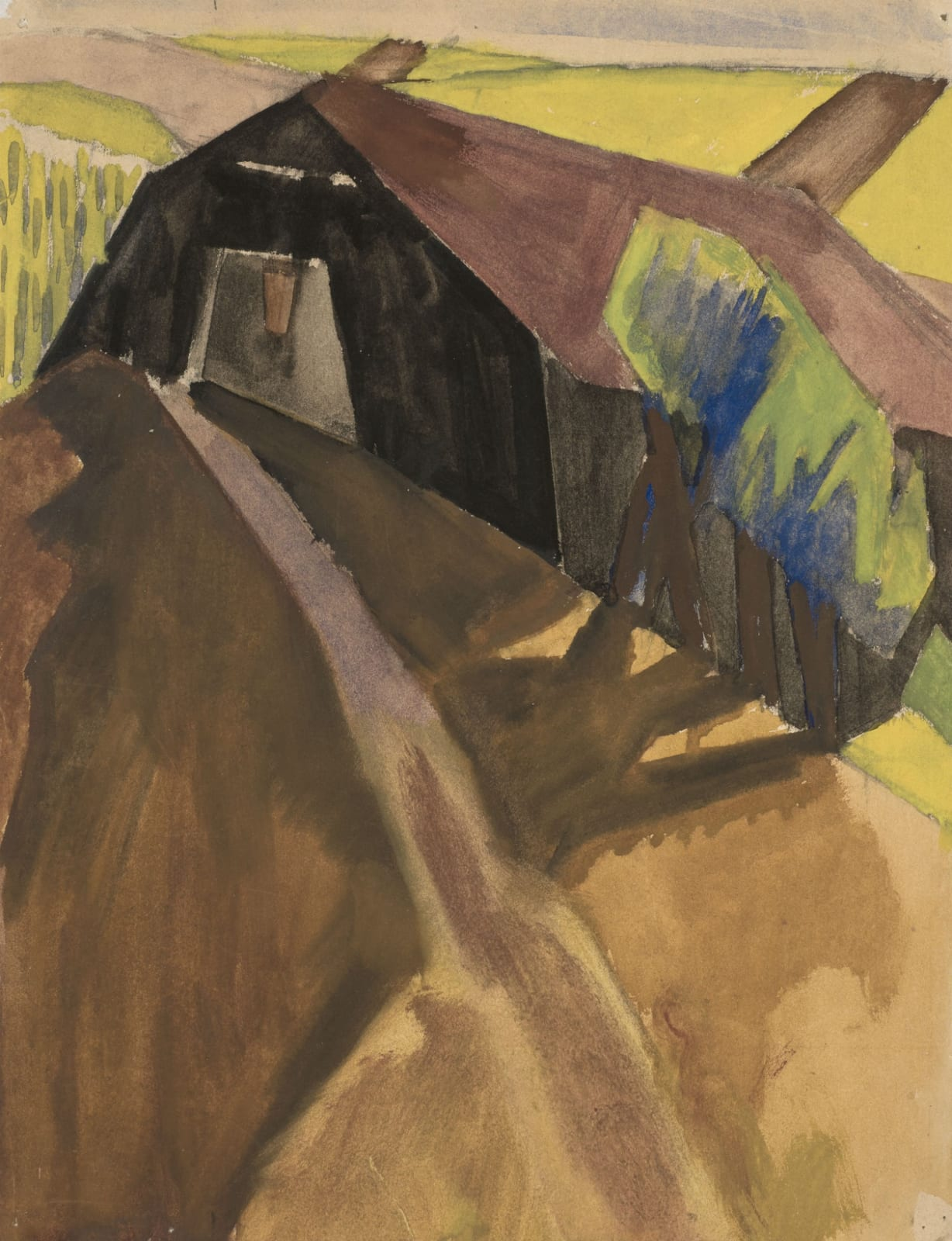 David Bomberg (1890-1951) Canal Bank, France 1920 Gouache on paper 34.5 x 26.5 cm Ben Uri Collection On loan from Nadine van Dyk (the artist's grandaughter)