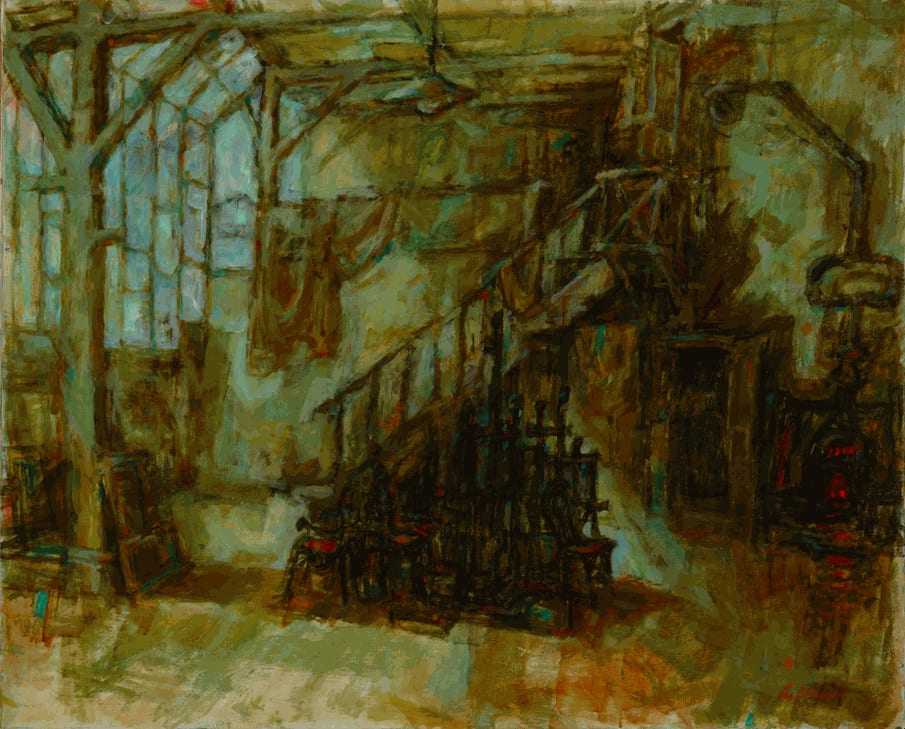 Alfred Cohen (1920-2001) Atelier c. 1958 Oil on canvas 81.3 x 100.3 cm Private Collection © Estate of Alfred Cohen 2020