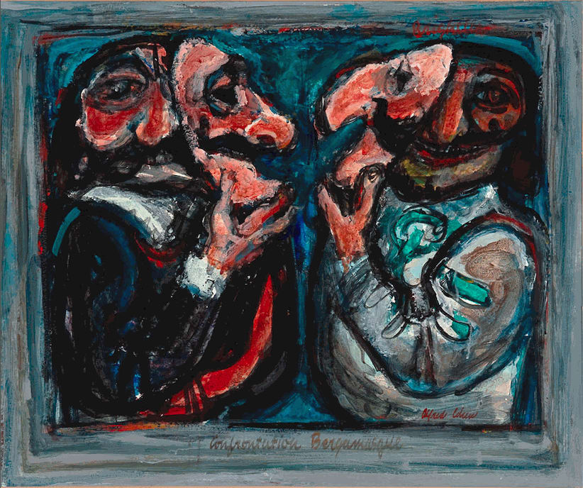 Alfred Cohen (1920-2001) Confrontation Bergamasque c. 1963 Cryla-colour on board 50.8 x 61 cm Private Collection © Estate of Alfred Cohen 2020