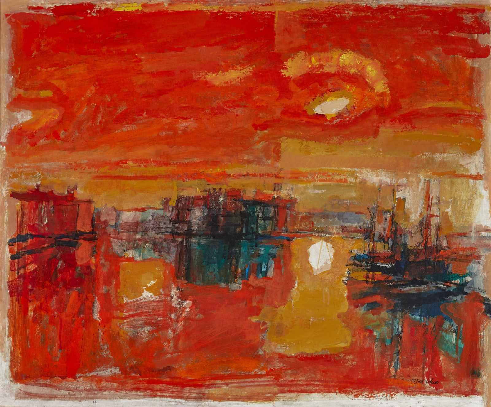 Alfred Cohen (1920-2001) Harbour Approach 1963 Oil on board 76.2 x 91.4 cm Alfred Cohen Art Foundation © Estate of Alfred Cohen 2020