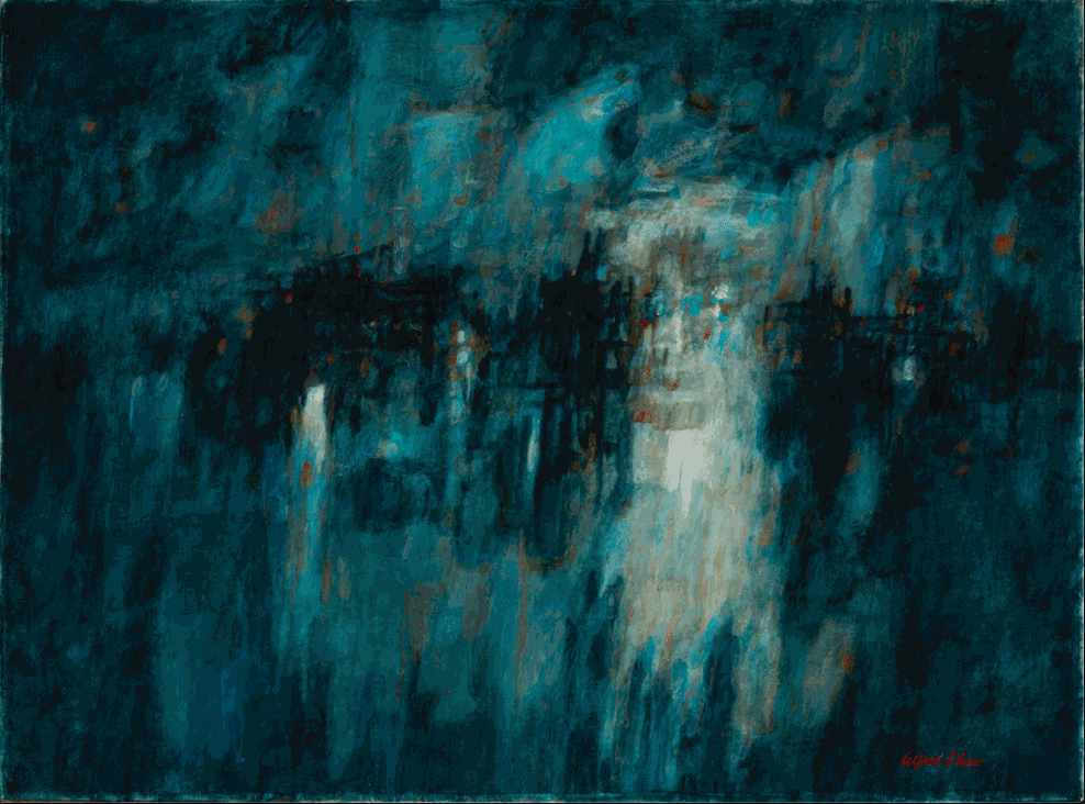 Alfred Cohen (1920-2001) L'Orient seen from Port Louis at Night 1957 Oil on canvas 53.3 x 71.1 cm Private Collection © Estate of Alfred Cohen 2020